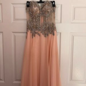 PEACH PROM DRESS - WORN ONCE